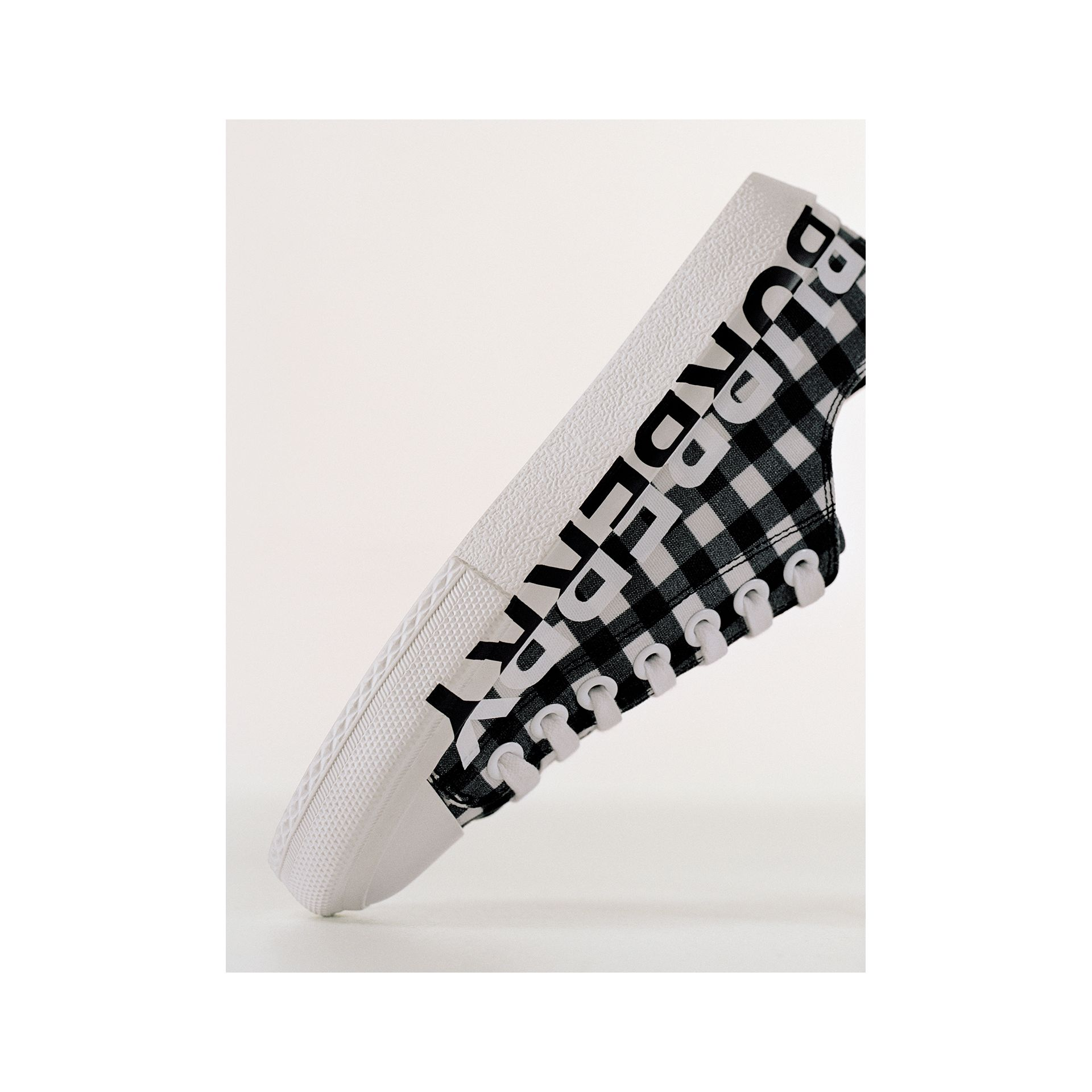 Logo Print Gingham Cotton Sneakers in Black/white - Women | Burberry - gallery image 1