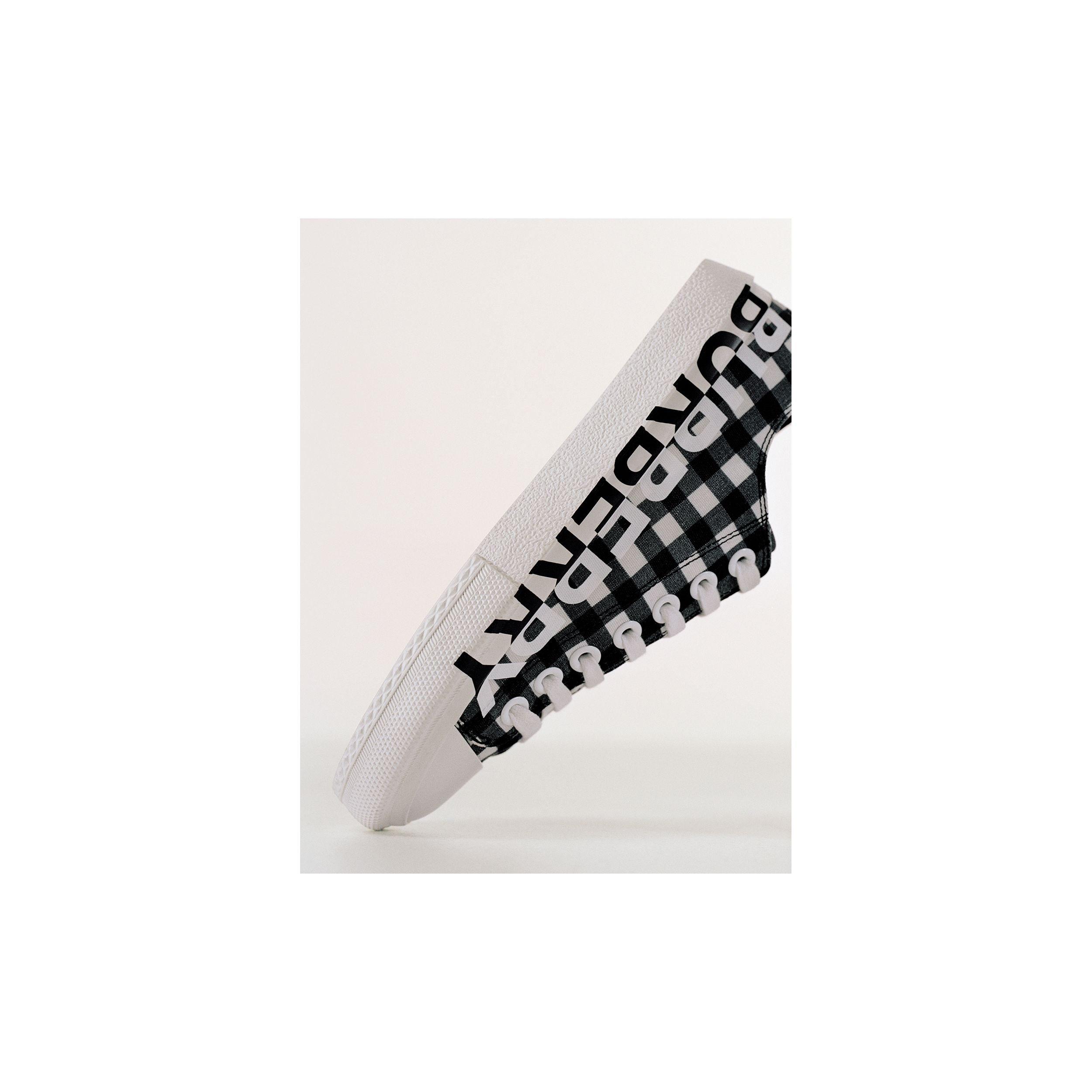 Logo Print Gingham Cotton Sneakers in Black/white - Women | Burberry - 2