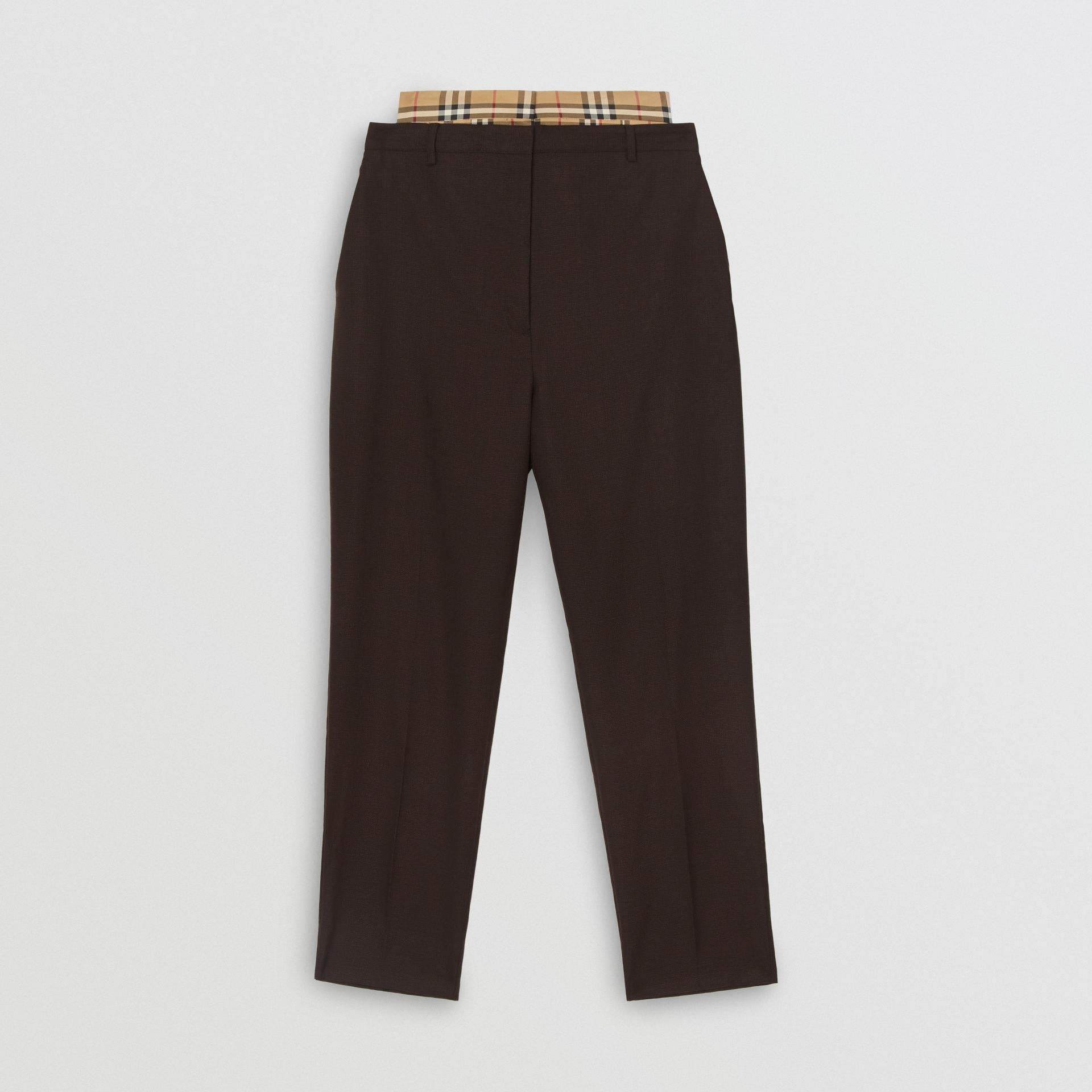 Vintage Check Panel Double-waist Wool Trousers in Black - Women | Burberry Singapore - gallery image 3