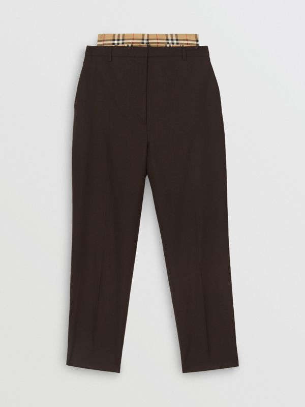Vintage Check Panel Double-waist Wool Trousers in Black - Women | Burberry Singapore - cell image 3