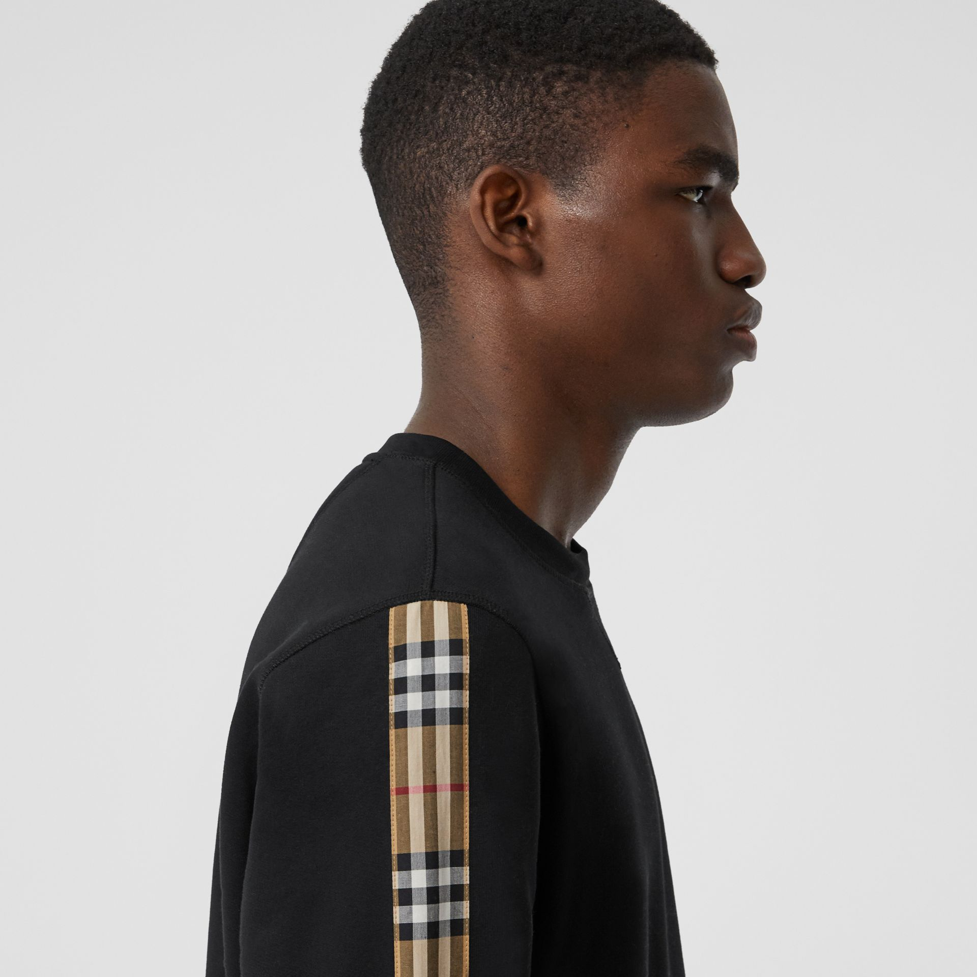 Vintage Check Panel Jersey Sweatshirt in Black - Men | Burberry - gallery image 1