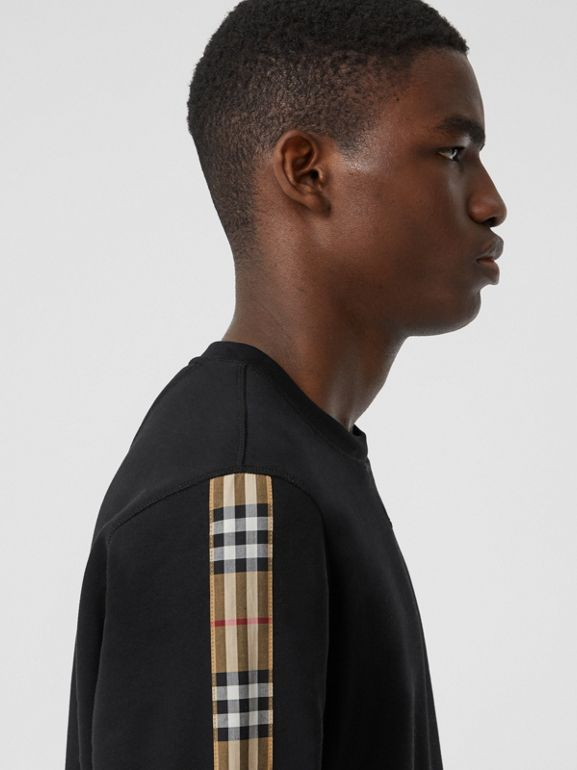 Vintage Check Panel Jersey Sweatshirt in Black - Men | Burberry - cell image 1
