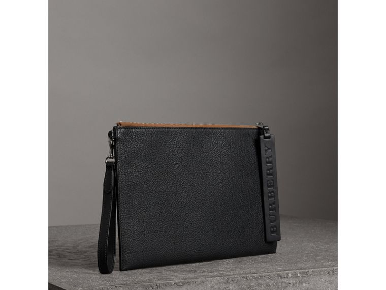 Grainy Leather Zip Pouch in Black | Burberry - cell image 4