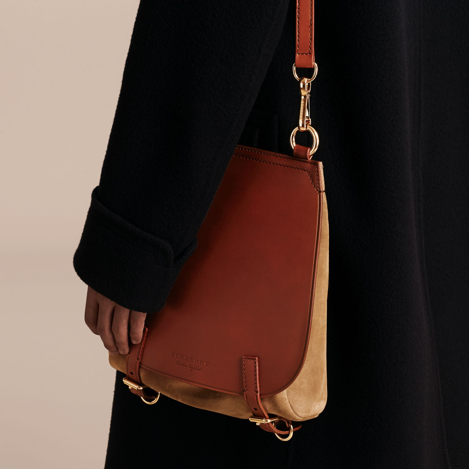 The Small Bridle Bag in Leather and Suede in Tan - Men | Burberry - gallery image 3