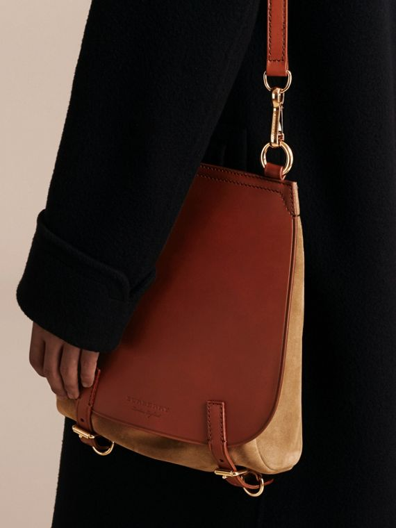 Tan The Small Bridle Bag in Leather and Suede - cell image 2