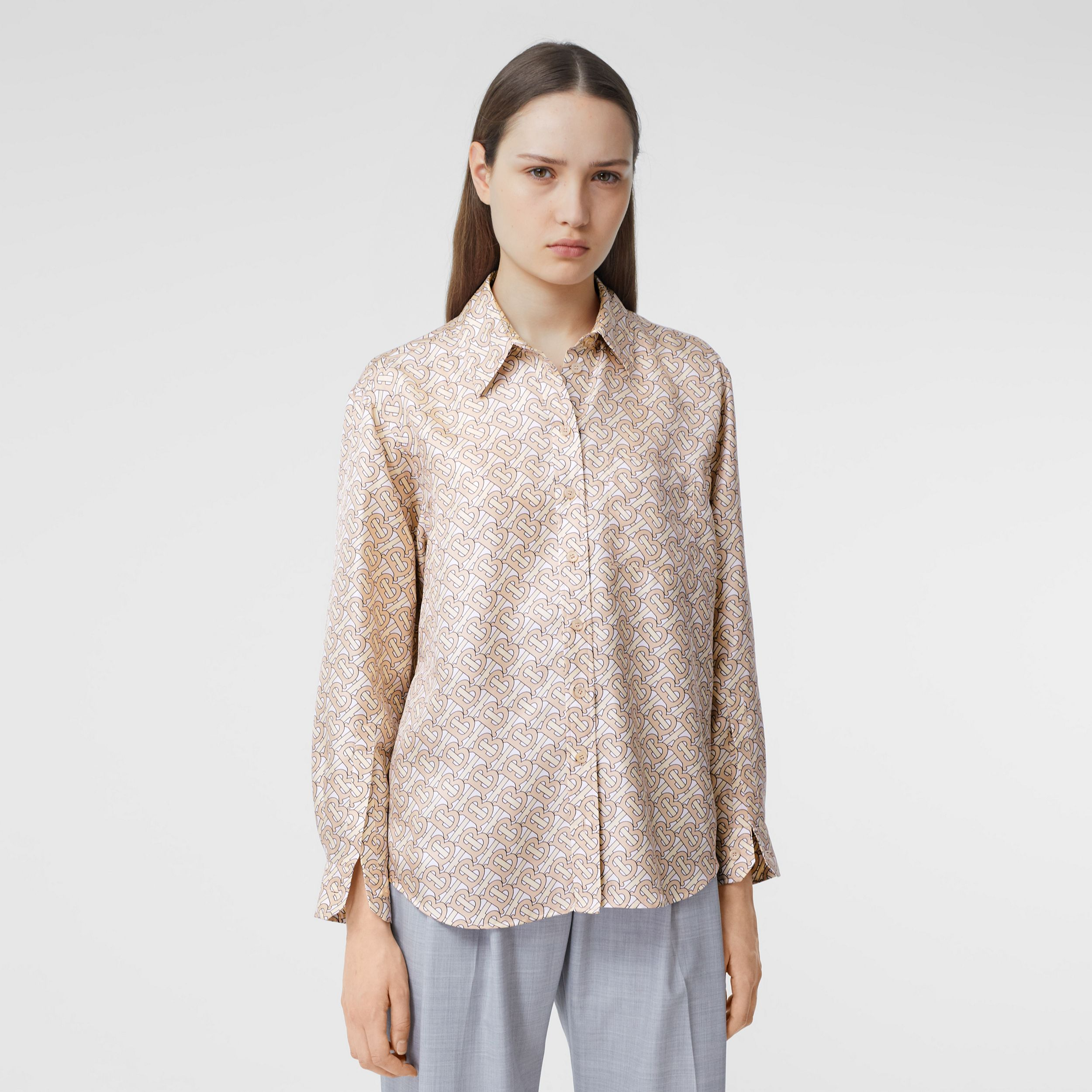 Monogram Print Silk Twill Shirt in Pale Copper Pink - Women | Burberry - 1
