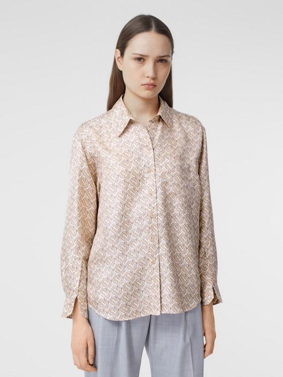 Monogram Print Silk Twill Shirt in Pale Copper Pink