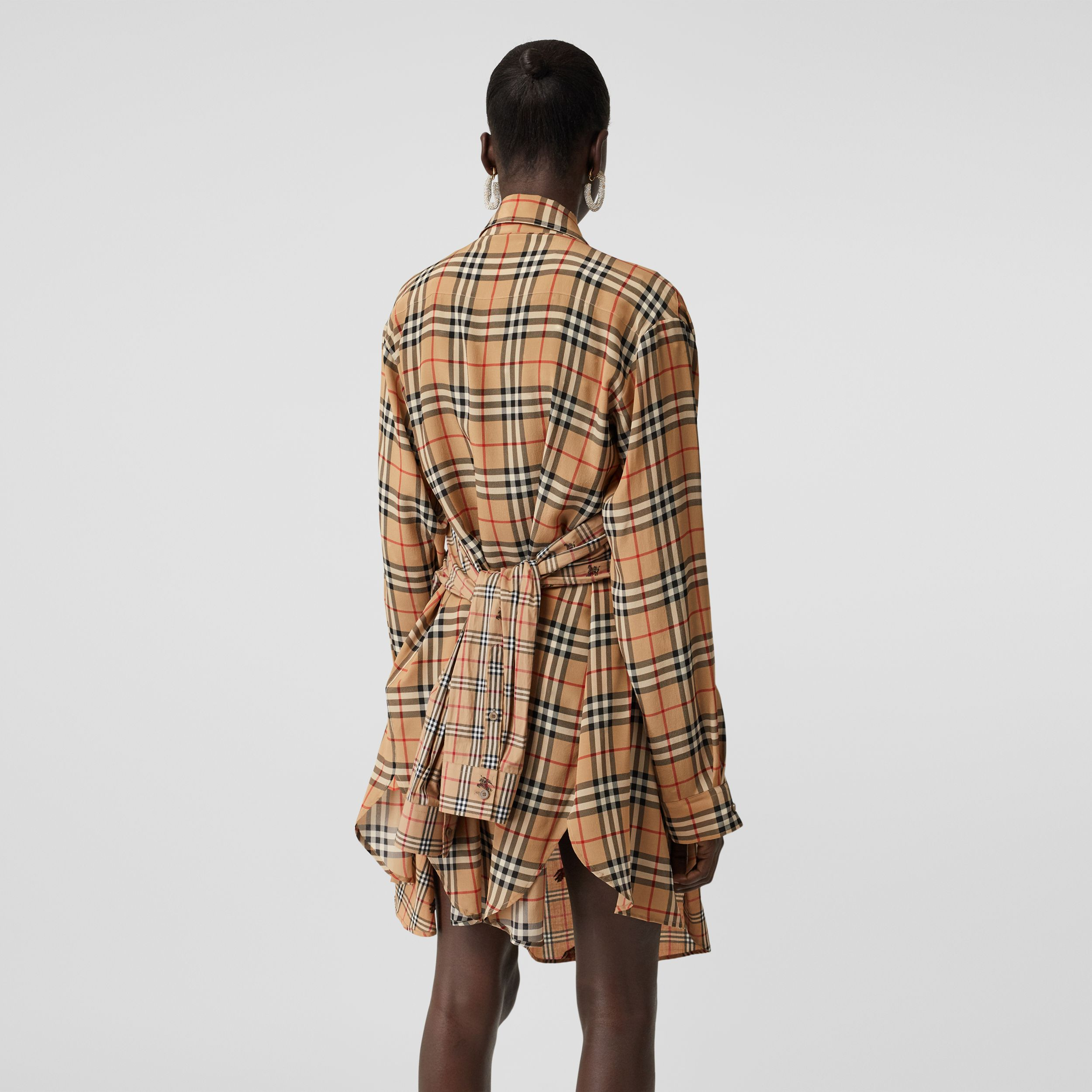 Vintage Check Silk and Cotton Shirt Dress in Archive Beige - Women | Burberry - 3