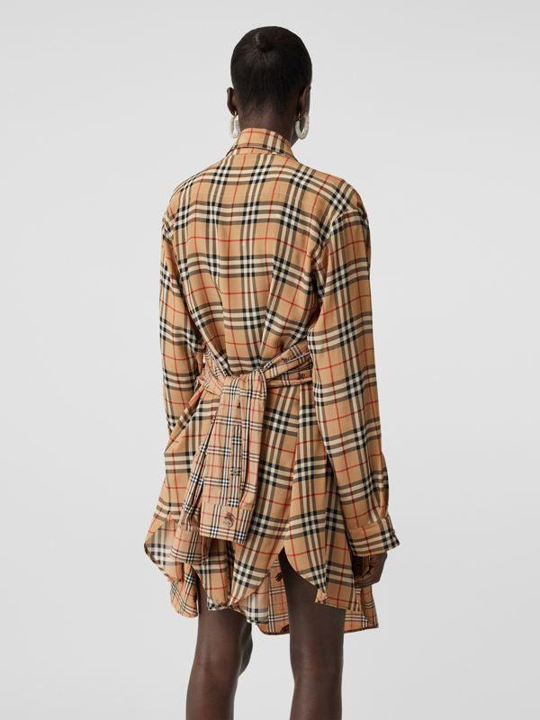 Vintage Check Silk and Cotton Shirt Dress in Archive Beige - Women | Burberry - cell image 2