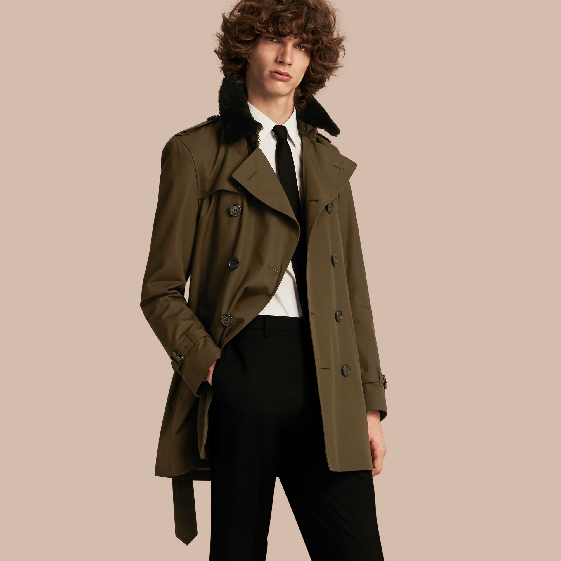 Detachable Shearling Topcollar Cotton Gabardine Trench Coat with Warmer in Olive Green - gallery image 1