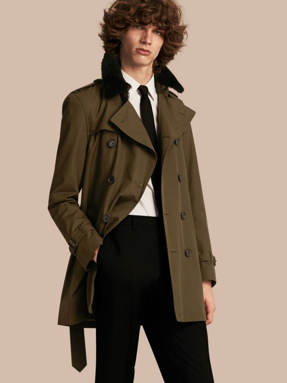 Detachable Shearling Topcollar Cotton Gabardine Trench Coat with Warmer Olive Green