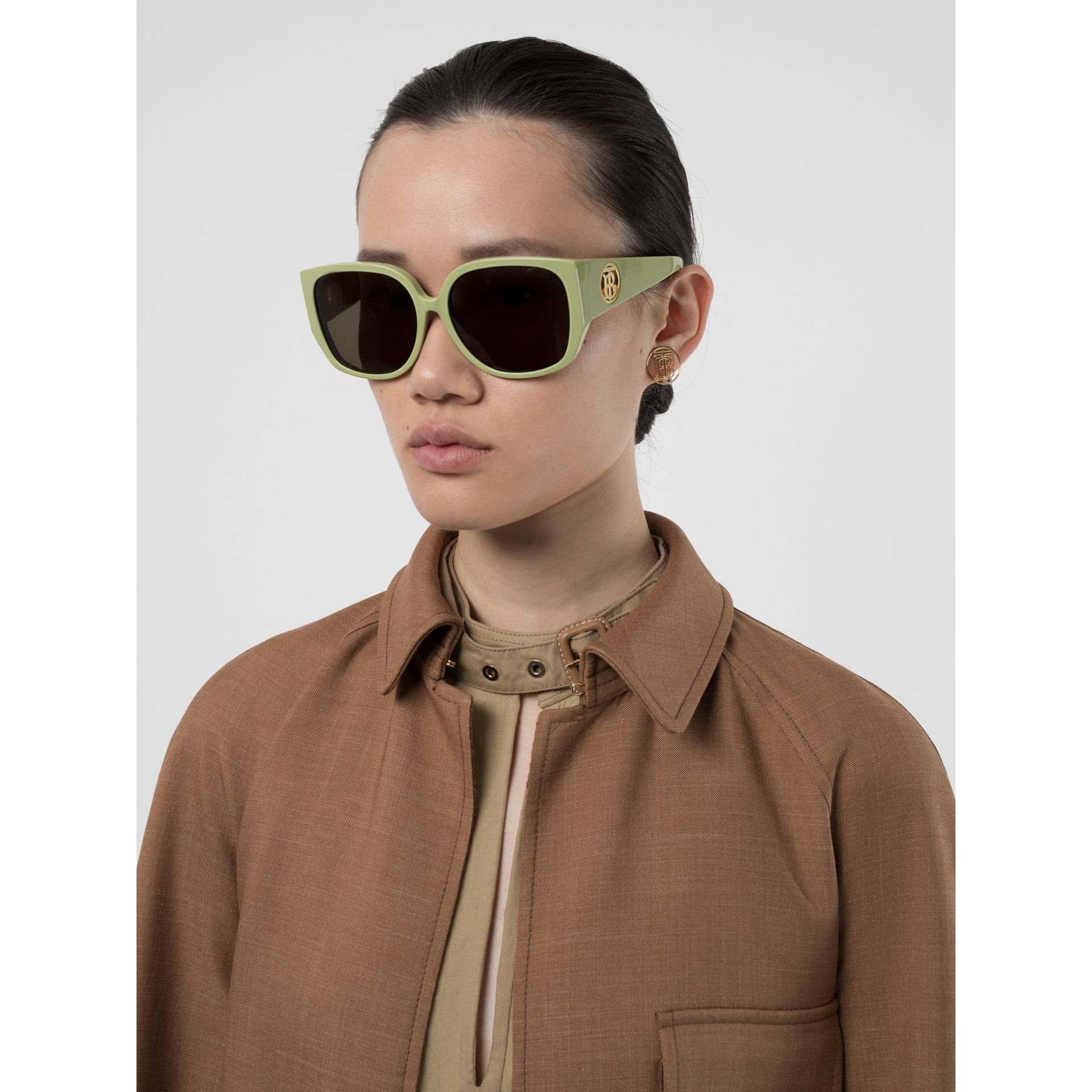 Oversized Butterfly Frame Sunglasses in Pistachio - Women | Burberry - gallery image 2