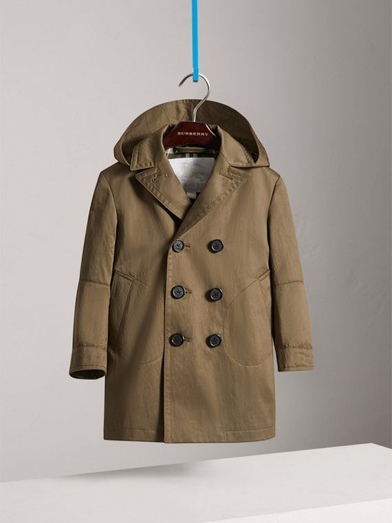 Detachable Hood Cotton Blend Trench Coat in Dark Olive