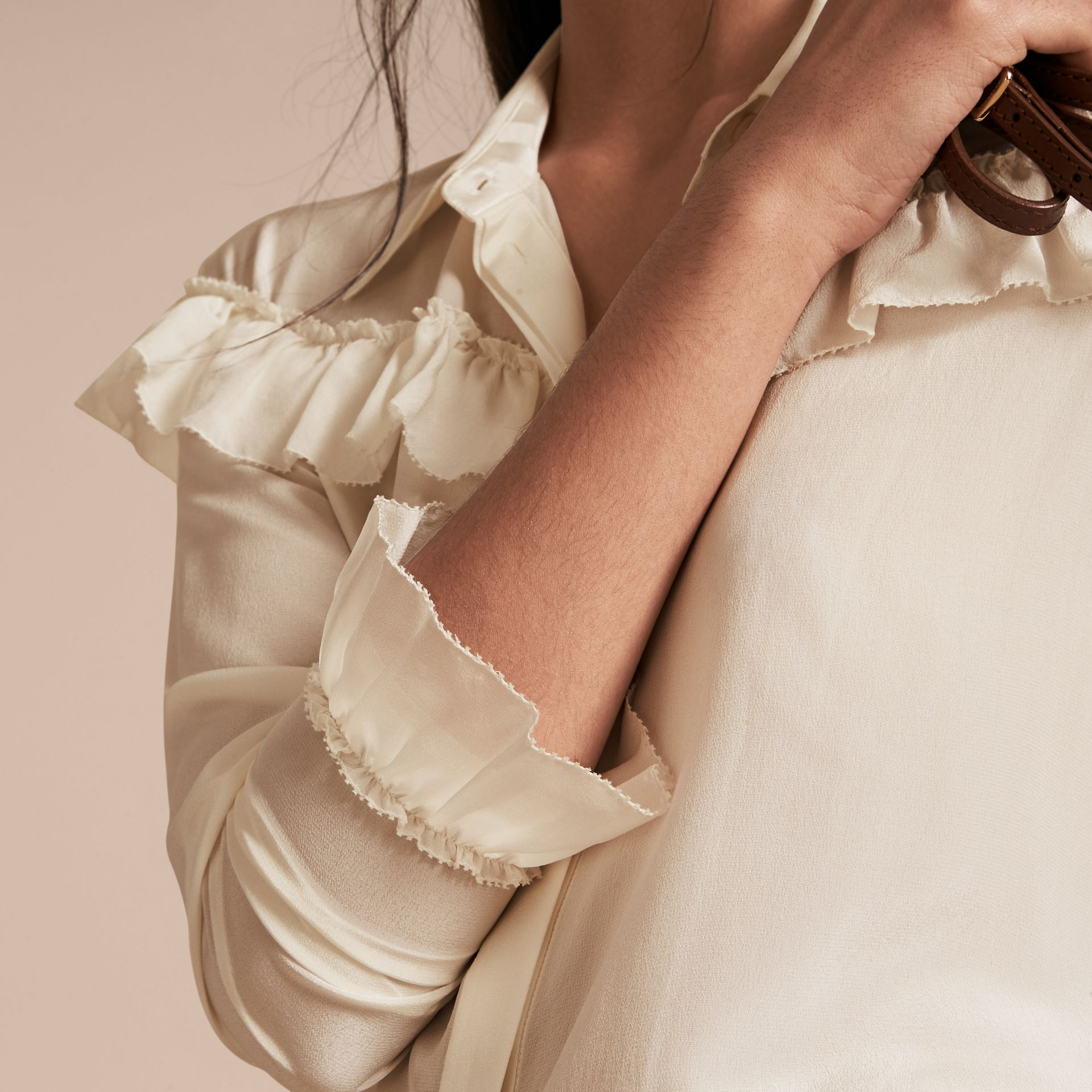 Frill Detail Silk Crepe De Chine Shirt in Natural White - gallery image 5