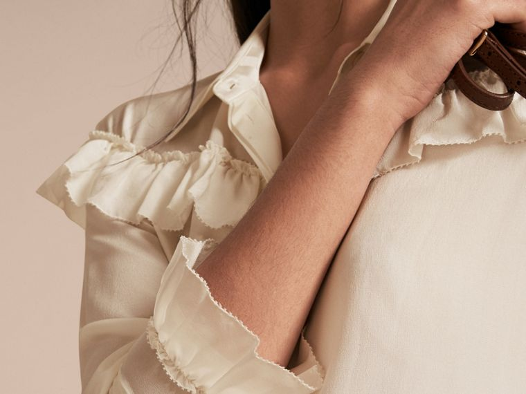 Frill Detail Silk Crepe De Chine Shirt in Natural White - cell image 4
