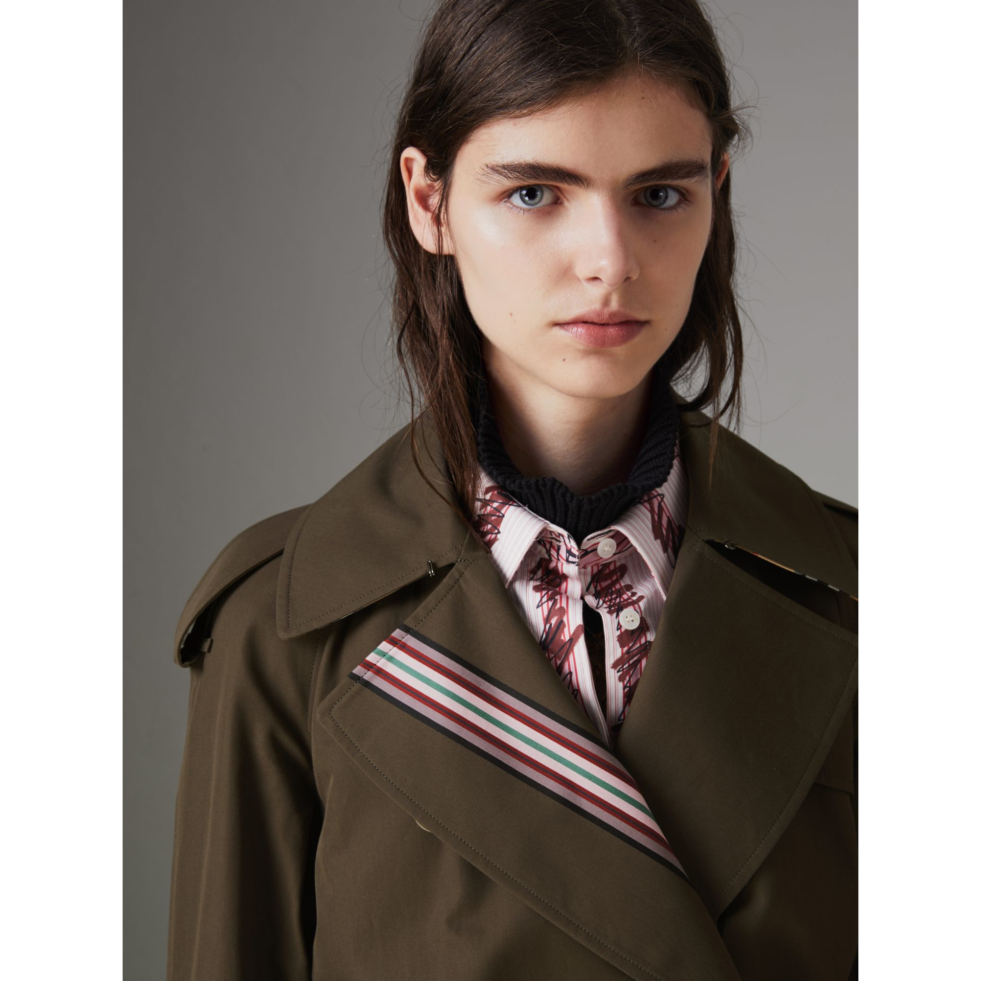 Collegiate Stripe Cotton Gabardine Trench Coat in Olive - Women | Burberry - gallery image 6