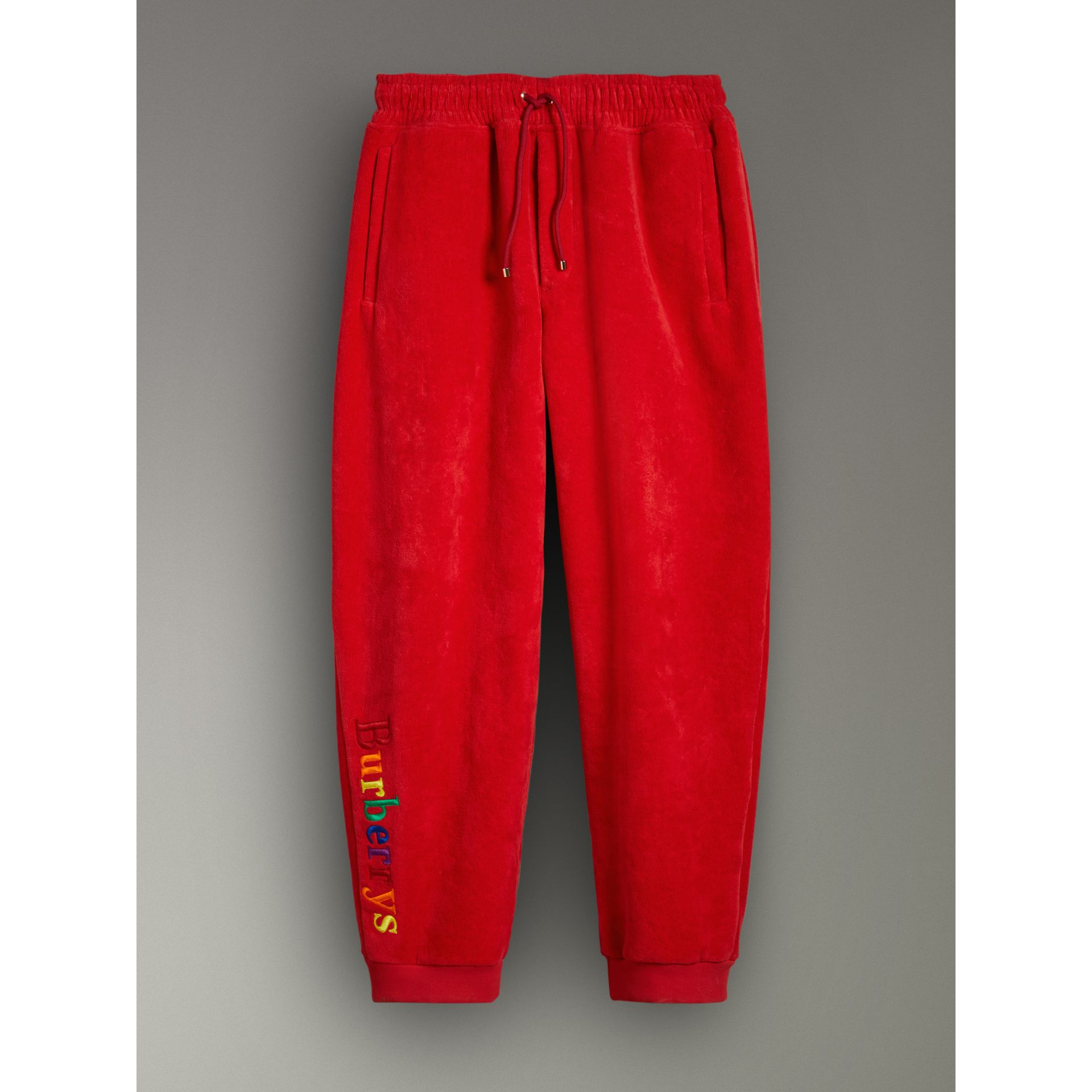 Archive Logo Towelling Sweatpants in Bright Red | Burberry - gallery image 3