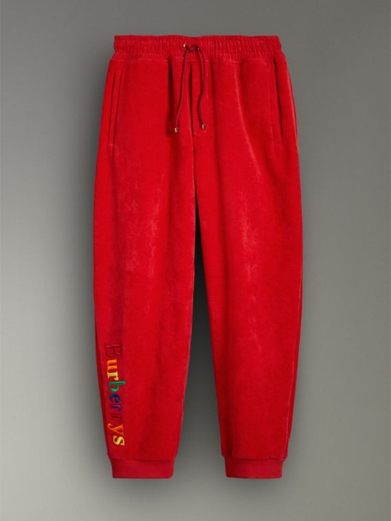 Archive Logo Towelling Sweatpants in Bright Red | Burberry - cell image 3