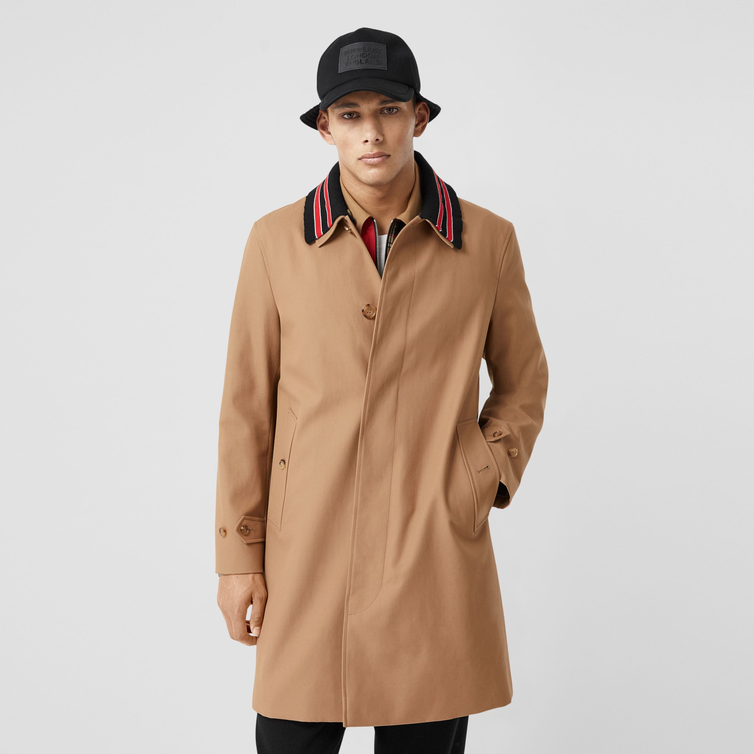 Detachable Striped Collar Cotton Car Coat in Warm Walnut - Men | Burberry - 1