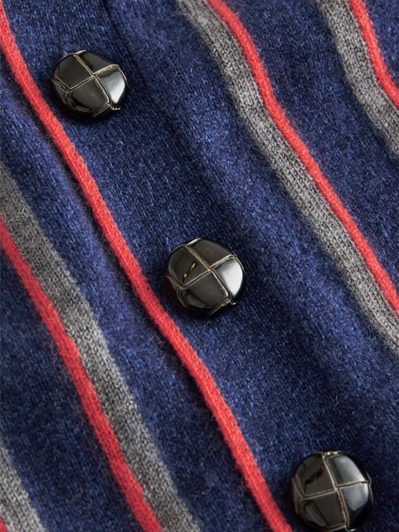 Striped Cashmere Wool Cardigan in Dark Canvas Blue | Burberry - cell image 1