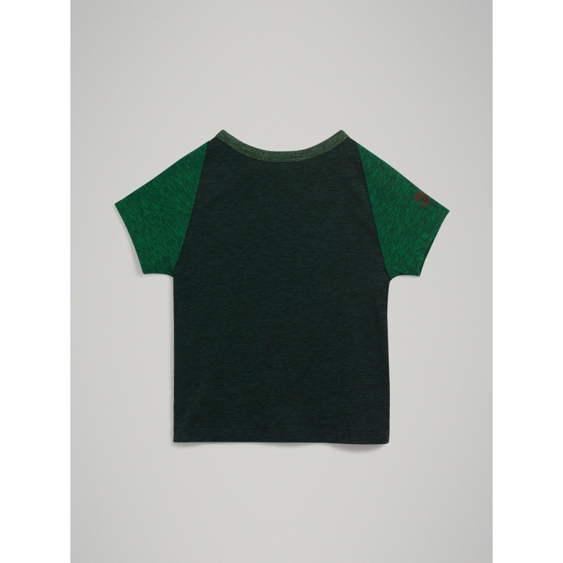 Raglan-sleeve Adventure Motif Cotton Blend T-shirt in Forest Green | Burberry - gallery image 3