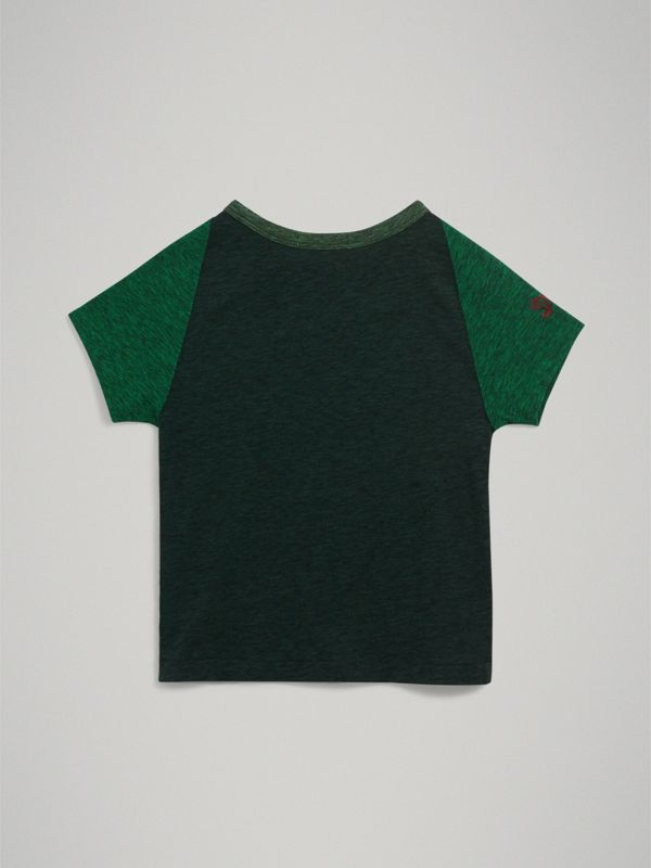 Raglan-sleeve Adventure Motif Cotton Blend T-shirt in Forest Green | Burberry - cell image 3