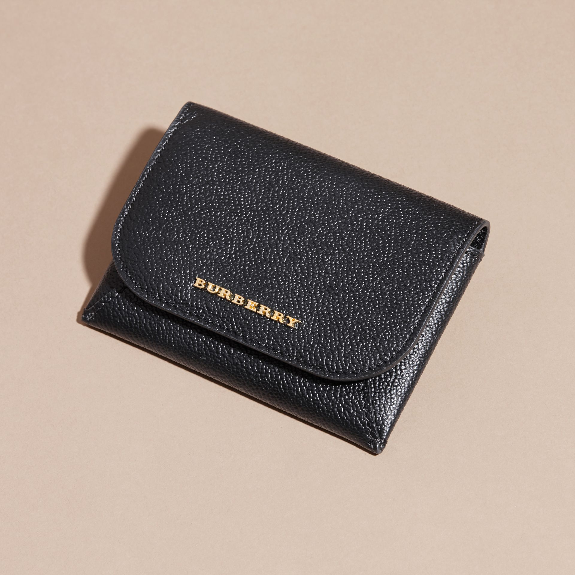 Leather Coin Case with Removable Card Compartment in Black - Women | Burberry - gallery image 3