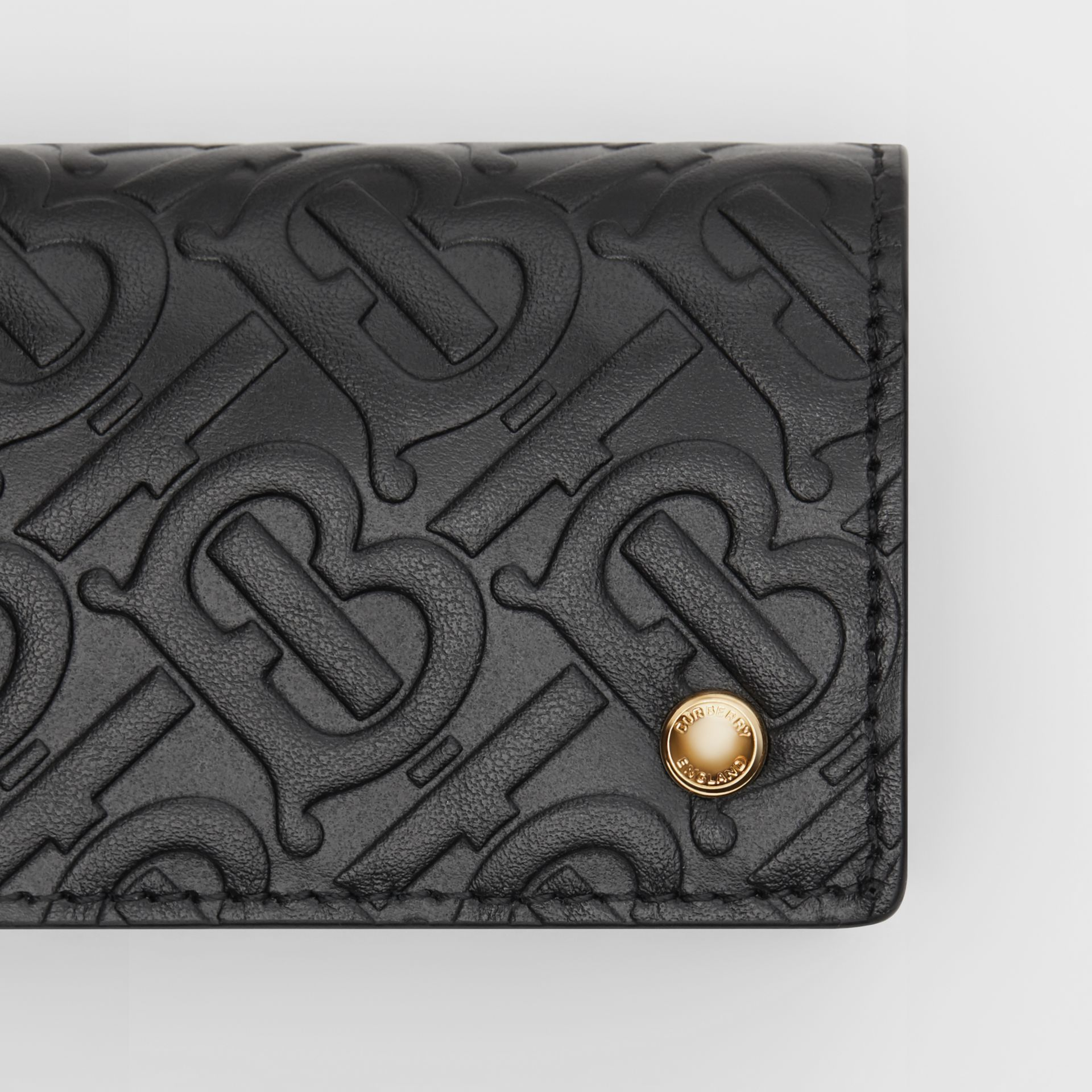 Monogram Leather Card Case in Black | Burberry - gallery image 1