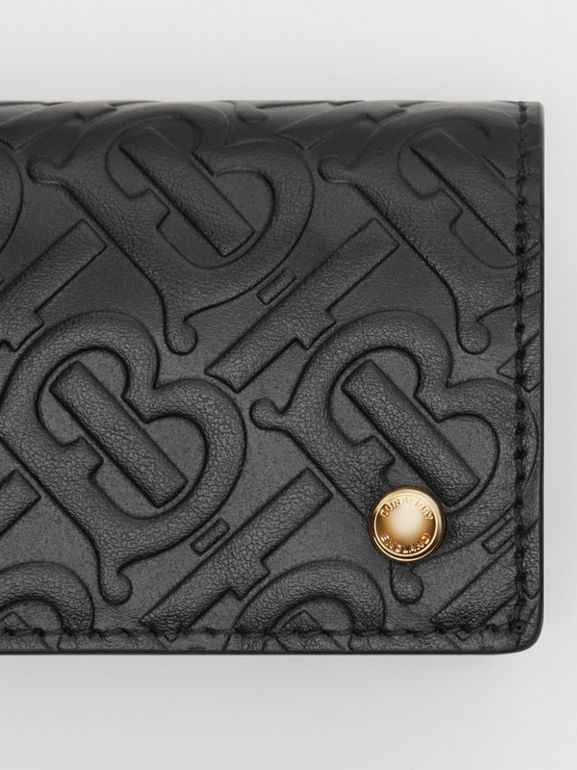 Monogram Leather Card Case in Black - Women | Burberry - cell image 1