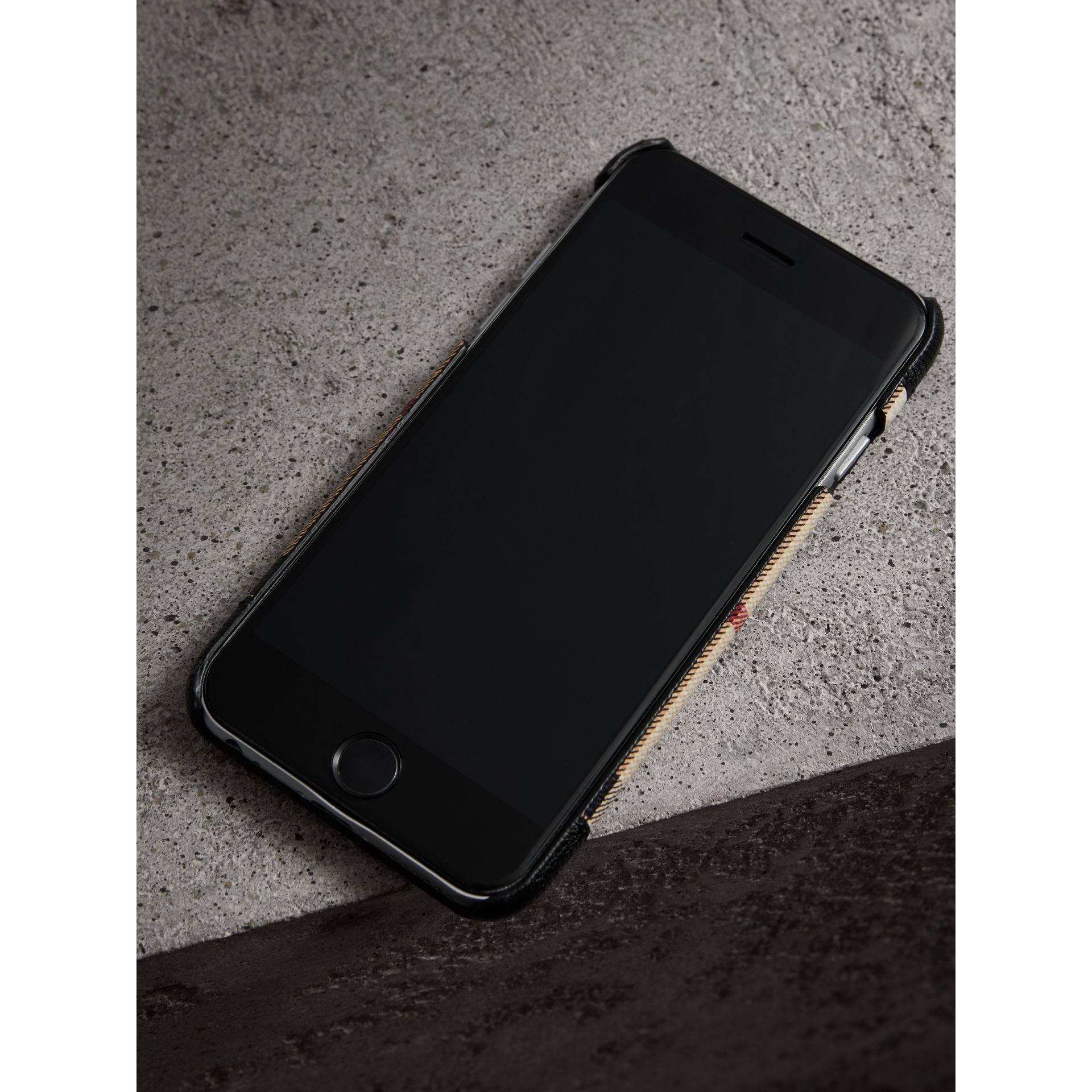 Haymarket Check and Leather iPhone 7 Case in Black | Burberry - gallery image 2