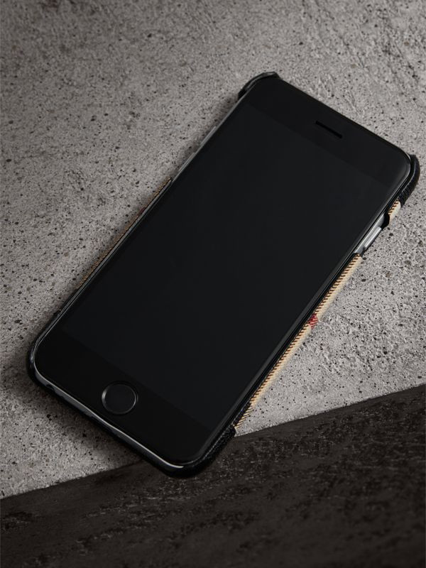 Haymarket Check and Leather iPhone 7 Case in Black | Burberry - cell image 2