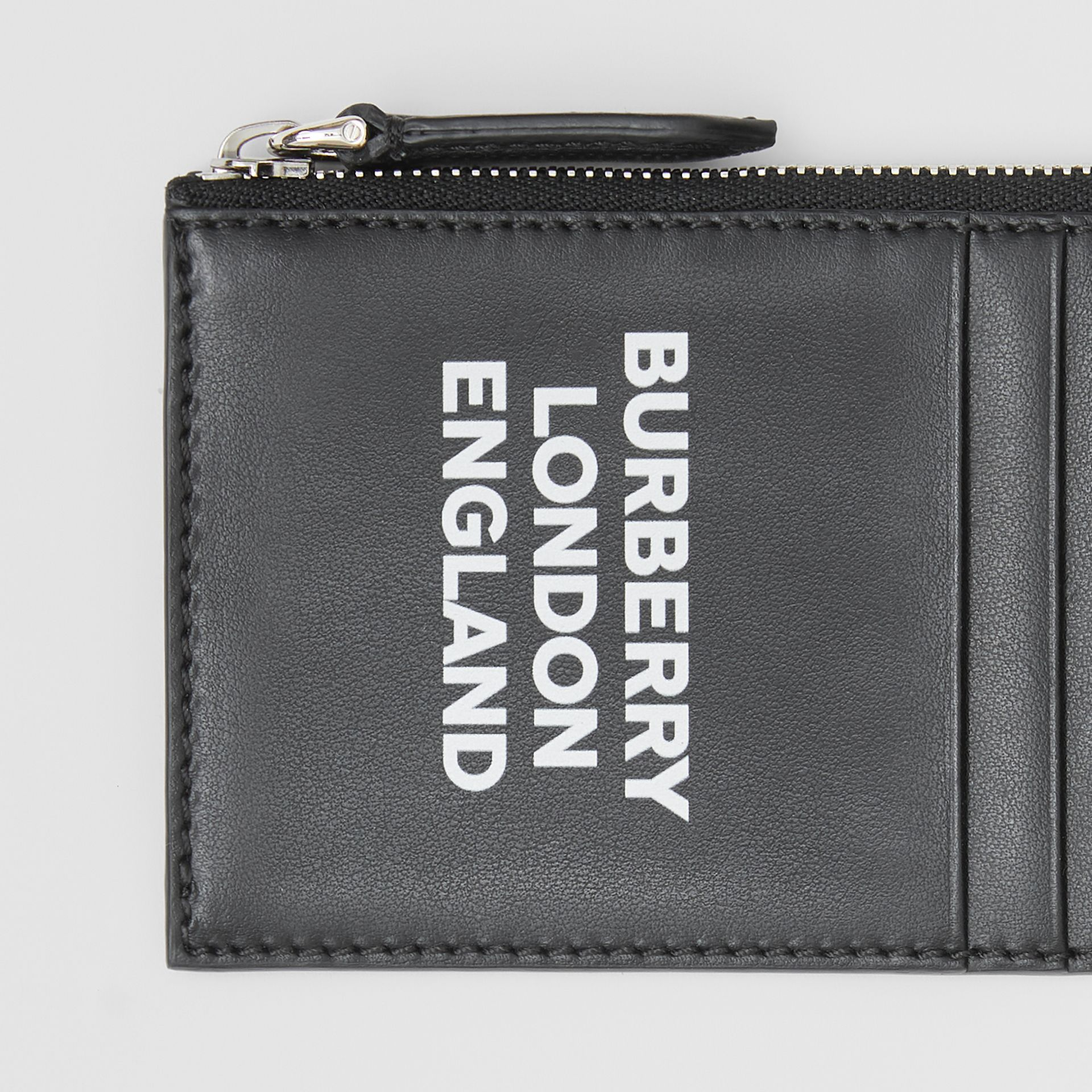 Logo Print Leather Zip Card Case in Black - Men | Burberry Hong Kong S.A.R - gallery image 1