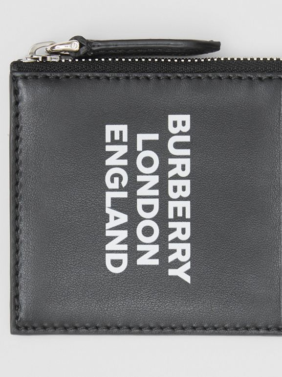 Logo Print Leather Zip Card Case in Black - Men | Burberry - cell image 1