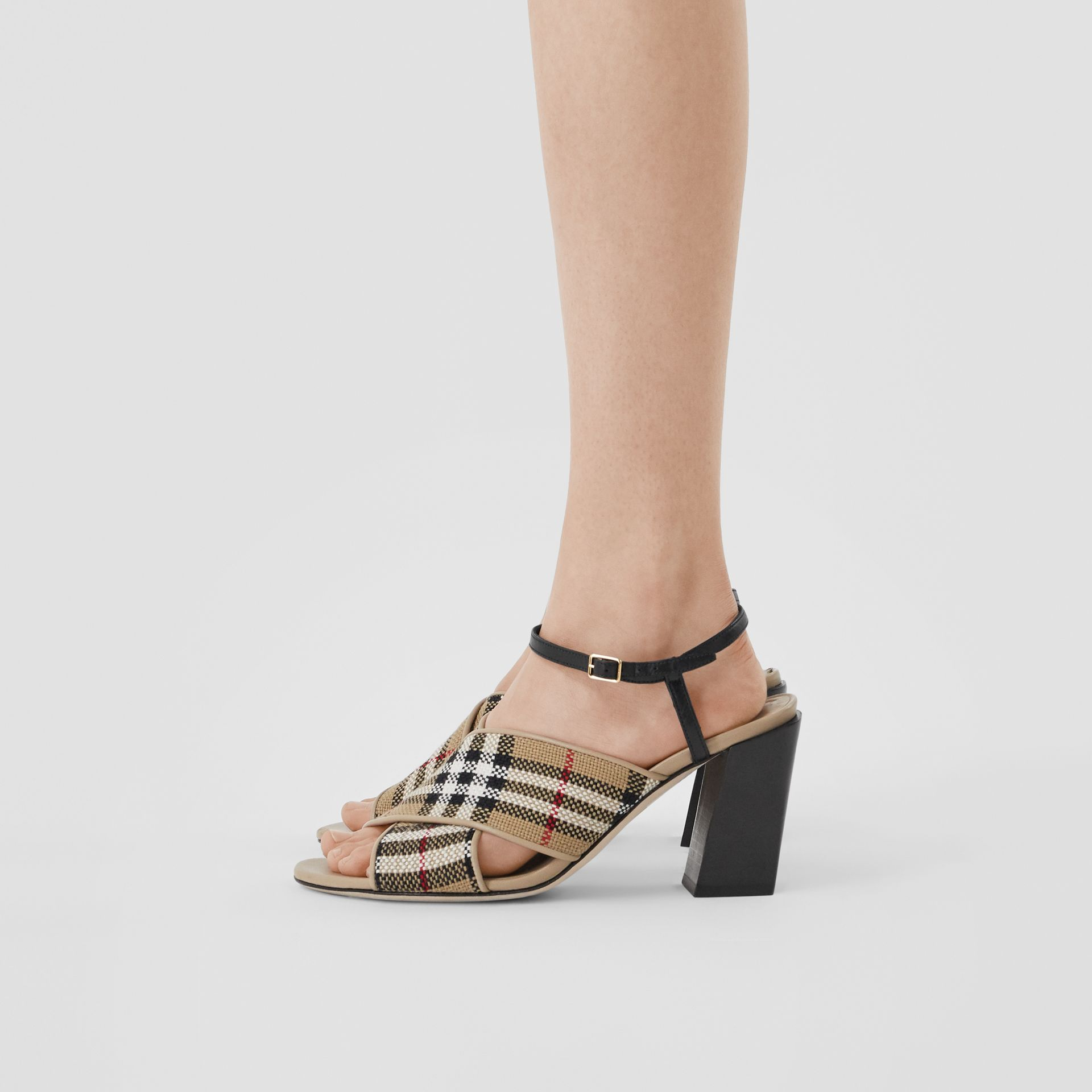 Latticed Cotton and Leather Block-heel Sandals in Archive Beige/black - Women | Burberry United Kingdom - gallery image 2