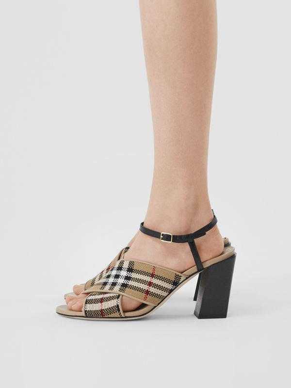 Latticed Cotton and Leather Block-heel Sandals in Archive Beige/black - Women | Burberry United Kingdom - cell image 2