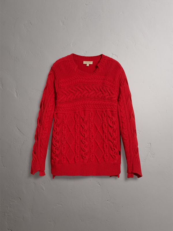 Aran Knit Cashmere Wool Sweater in Military Red - Men | Burberry - cell image 3