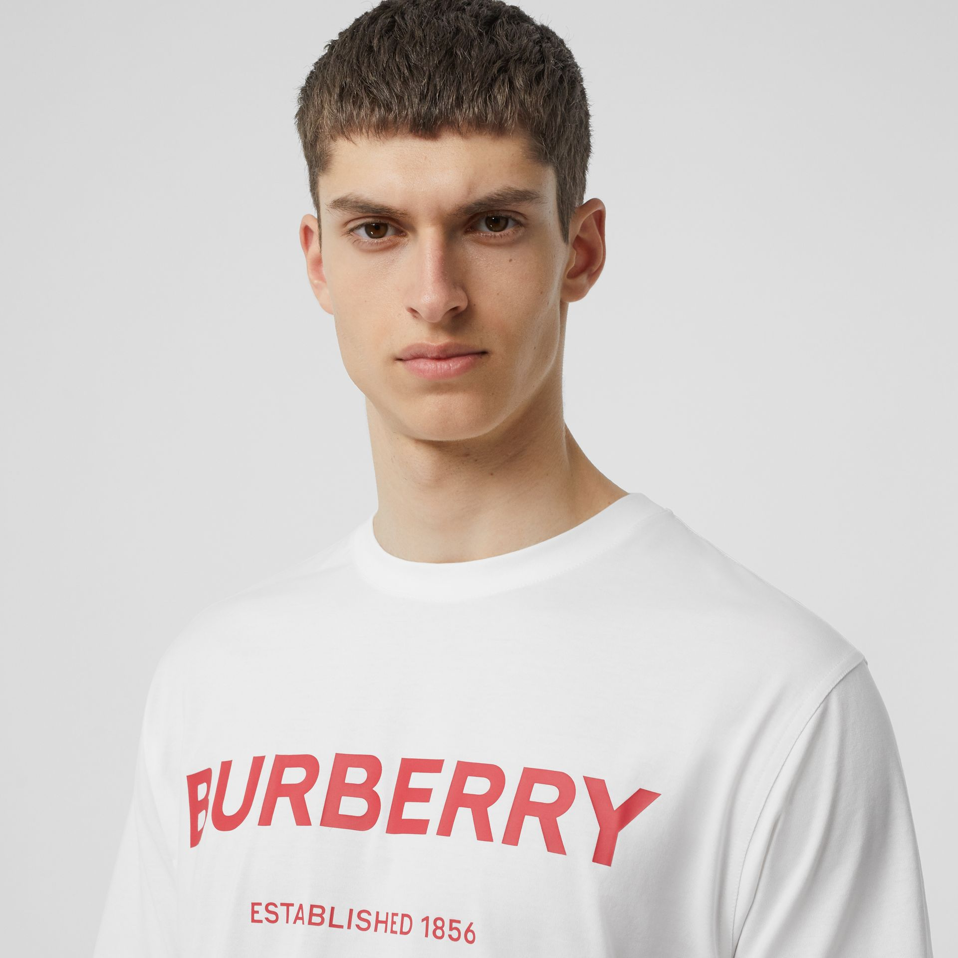 Horseferry Print Cotton T-shirt in White - Men | Burberry Hong Kong - gallery image 1