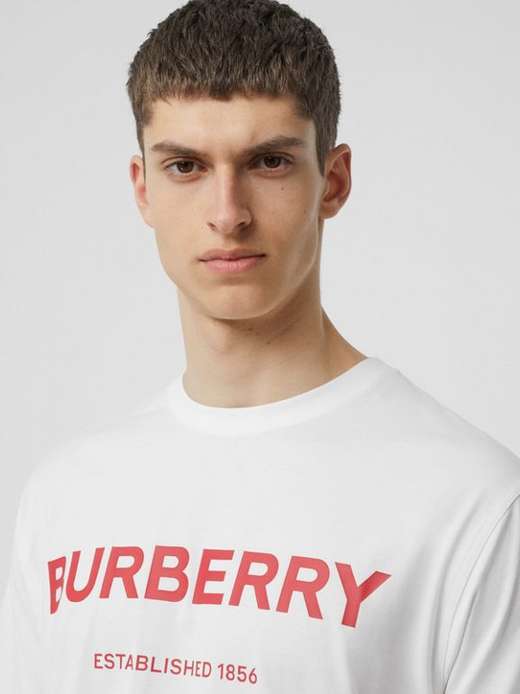 Horseferry Print Cotton T-shirt in White - Men | Burberry - cell image 1