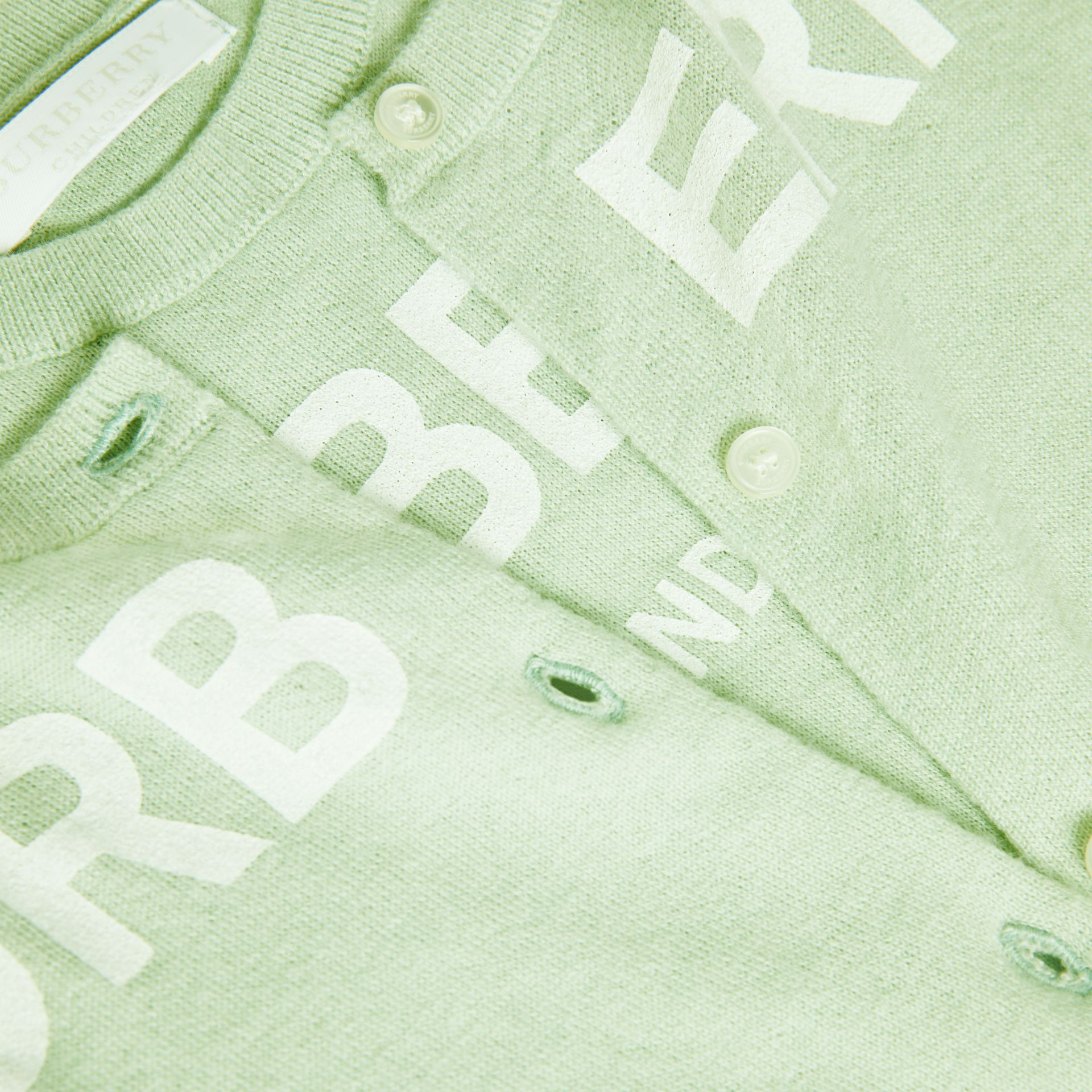 Logo Print Cashmere Two-piece Set in Pistachio | Burberry - gallery image 1