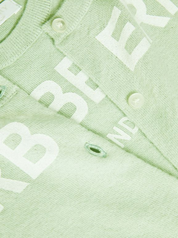 Logo Print Cashmere Two-piece Set in Pistachio | Burberry - cell image 1