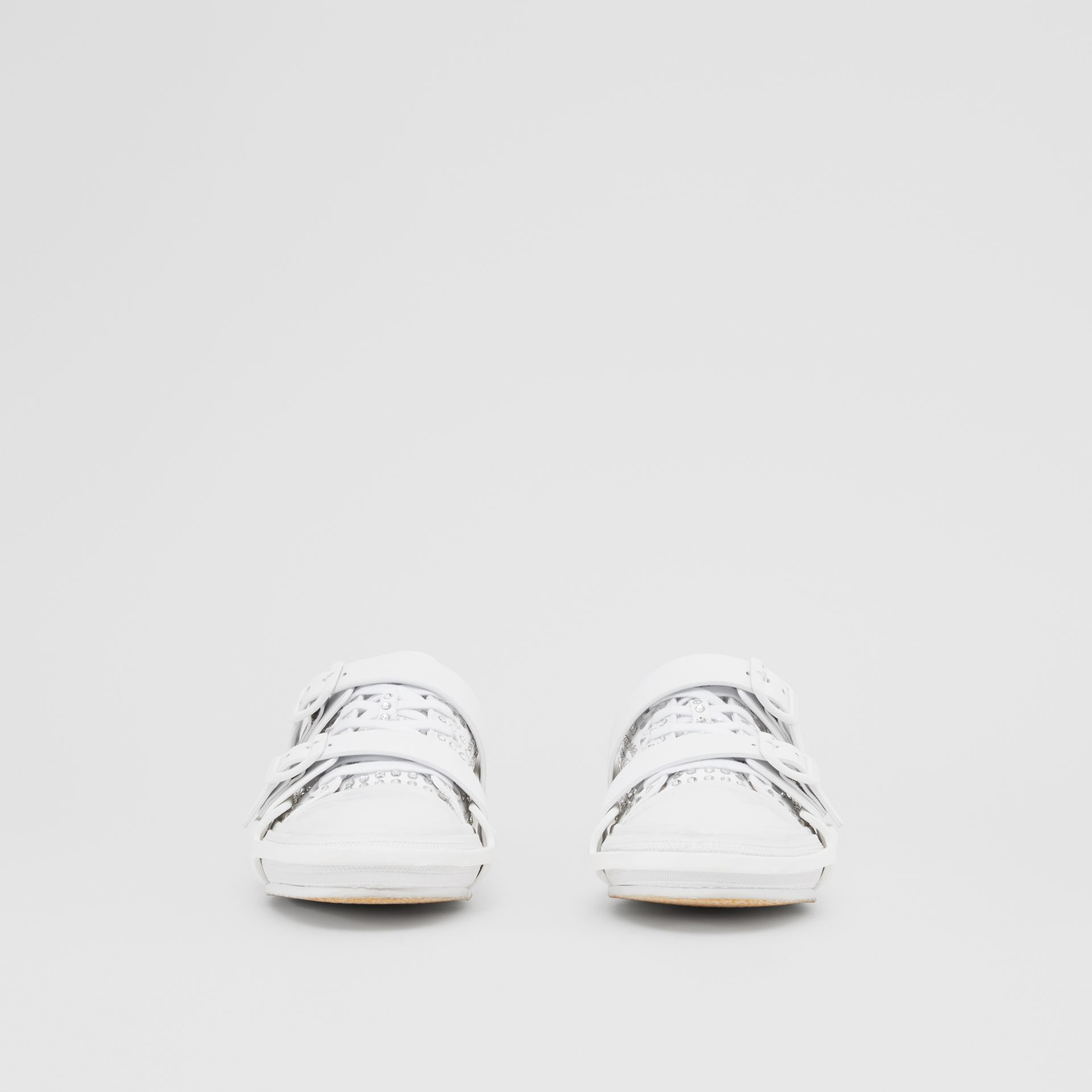 Embellished Cotton and Leather Webb Sneakers in White | Burberry United States - gallery image 2