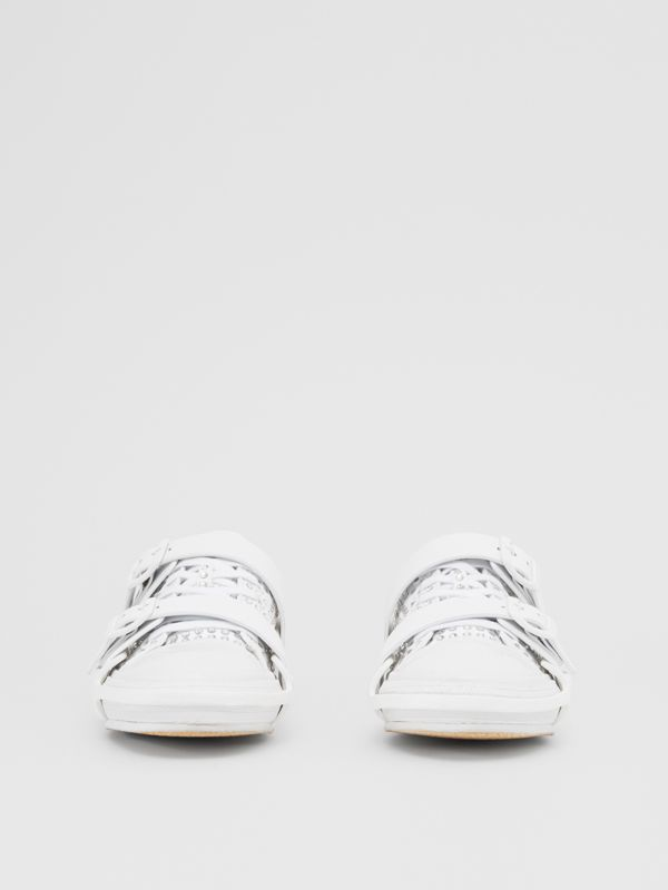 Embellished Cotton and Leather Webb Sneakers in White | Burberry United States - cell image 2