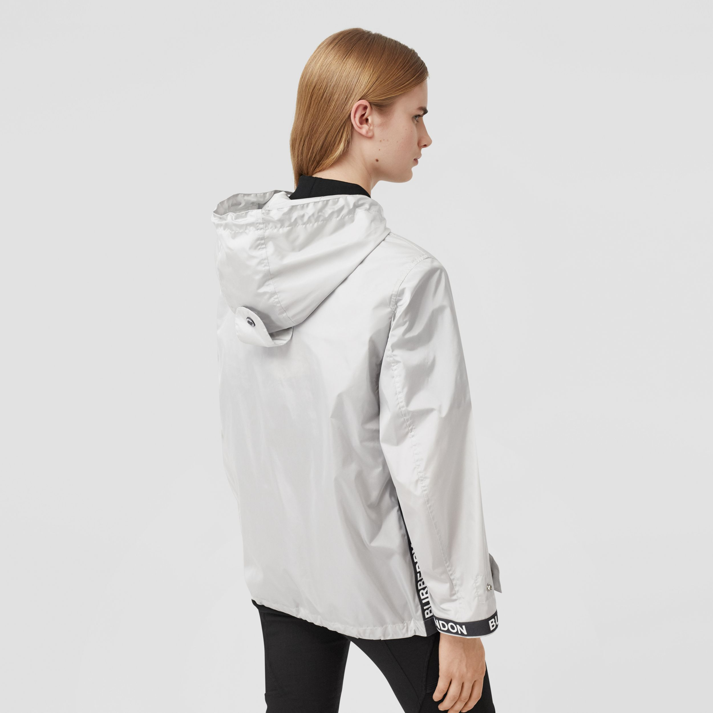 Logo Tape ECONYL® Hooded Jacket in Pale Grey - Women | Burberry - 3