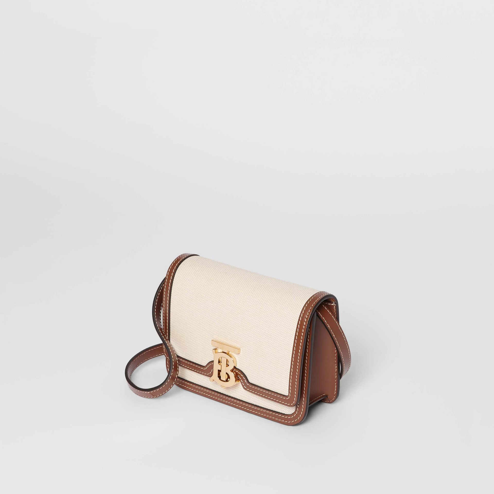 Mini Two-tone Canvas and Leather TB Bag in Natural/malt Brown - Women | Burberry - gallery image 3