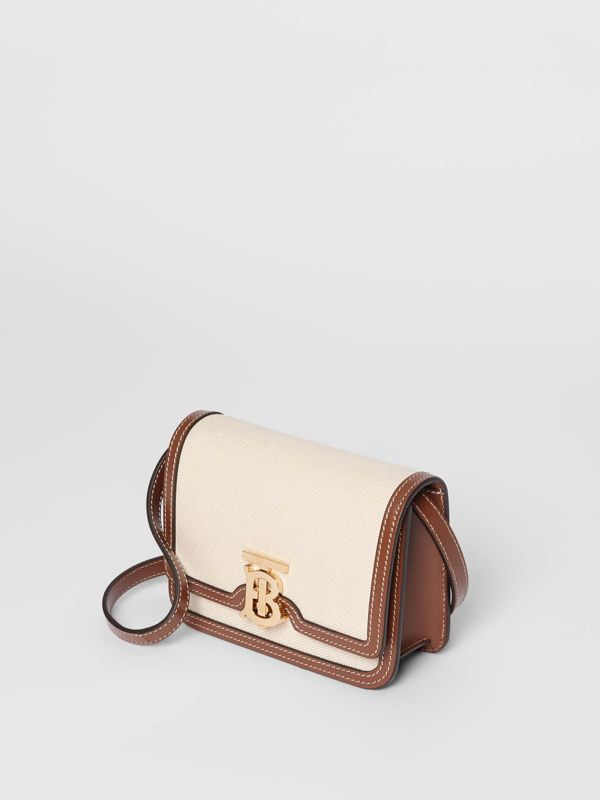 Mini Two-tone Canvas and Leather TB Bag in Natural/malt Brown - Women | Burberry - cell image 3