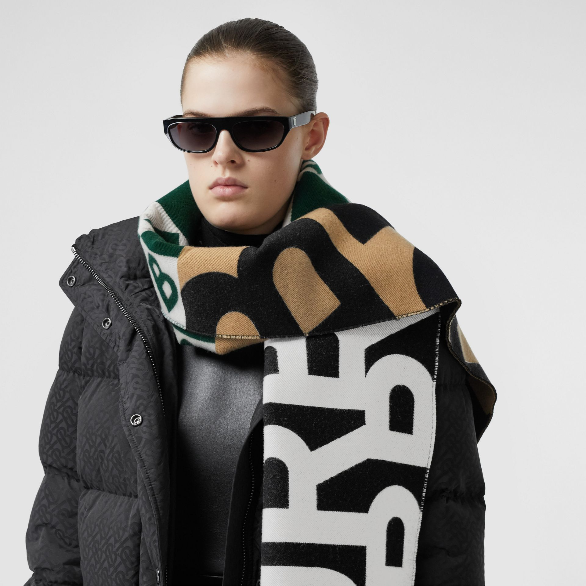 Contrast Logo Graphic Wool Silk Jacquard Scarf in Dark Pine Green | Burberry United Kingdom - gallery image 2
