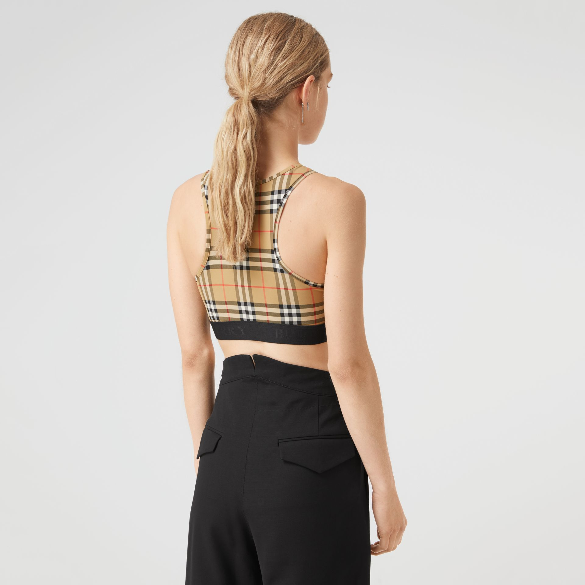 Vintage Check Stretch Jersey Bra Top in Antique Yellow - Women | Burberry - gallery image 2