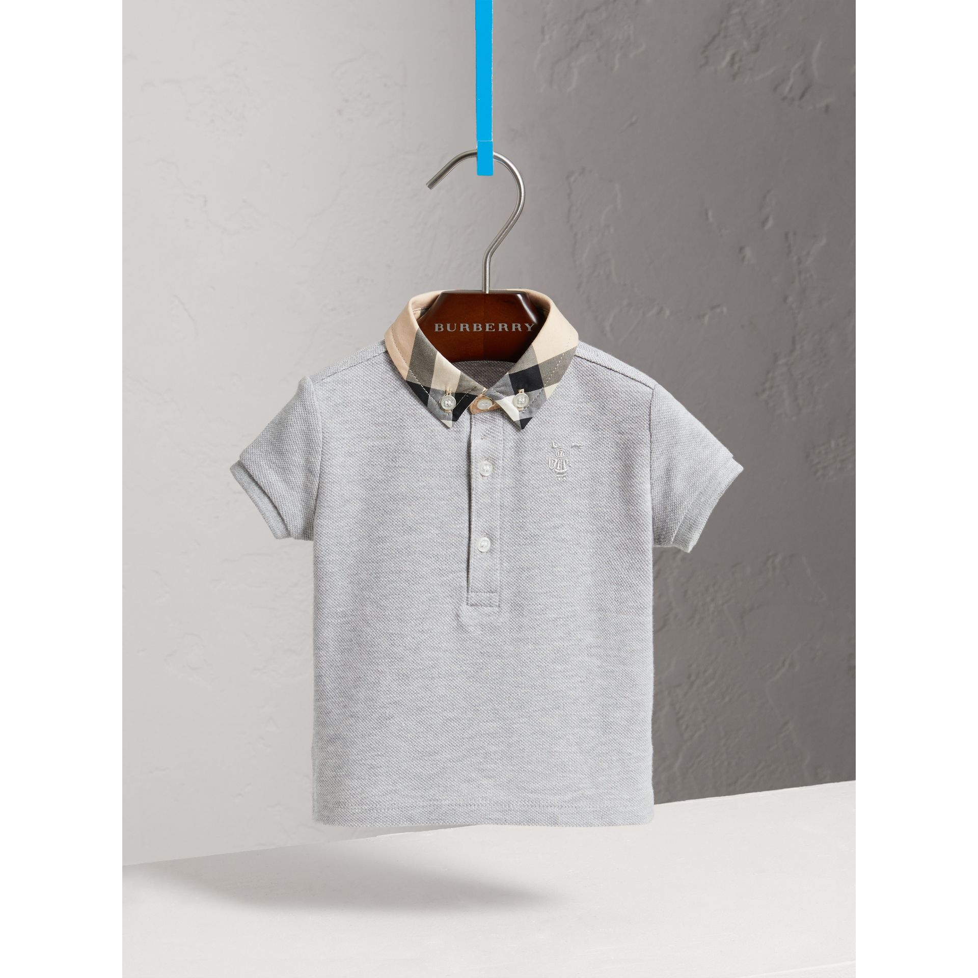 Check Collar Cotton Polo Shirt in Pale Grey Melange - Children | Burberry - gallery image 0
