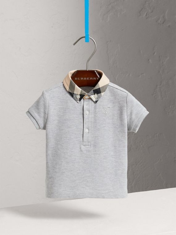 Check Collar Cotton Polo Shirt in Pale Grey Melange