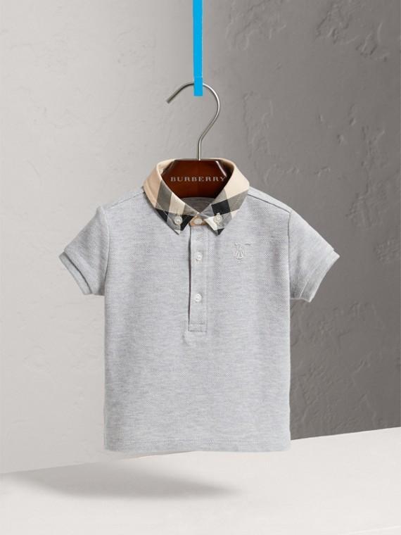 Camisa polo de algodão com colarinho xadrez (Cinza Claro Mesclado)